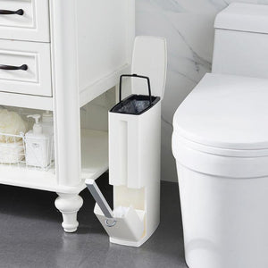 Plastic Bathroom Trash Can with Toilet Brush