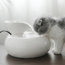 Load image into Gallery viewer, EU/US Smart Ceramics Cat Drinking Feeder Automatic Circulating Water Feeder Pet Water Dispenser 3D Fountain Water Basin 20E
