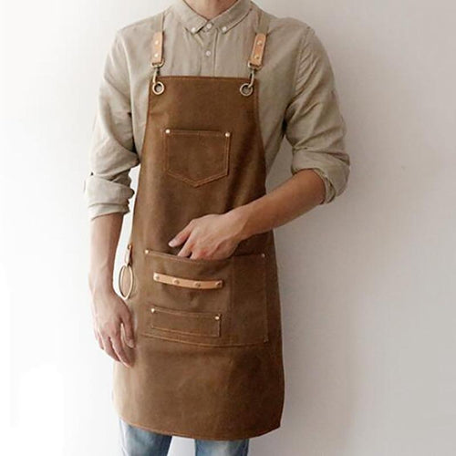 Canvas  Bib Leather Chef Kitchen Apron
