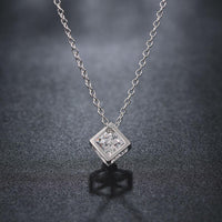 Cubed Necklace Plated in 18K White Gold