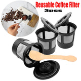 3 Reusable Coffee Filters with Spoon