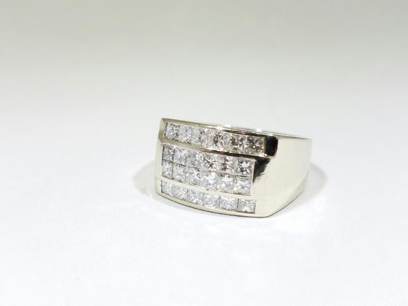Gent's Diamond Fashion Ring 24 Diamonds 3.60 Carat T.W. 14K White Gold 14.5g
