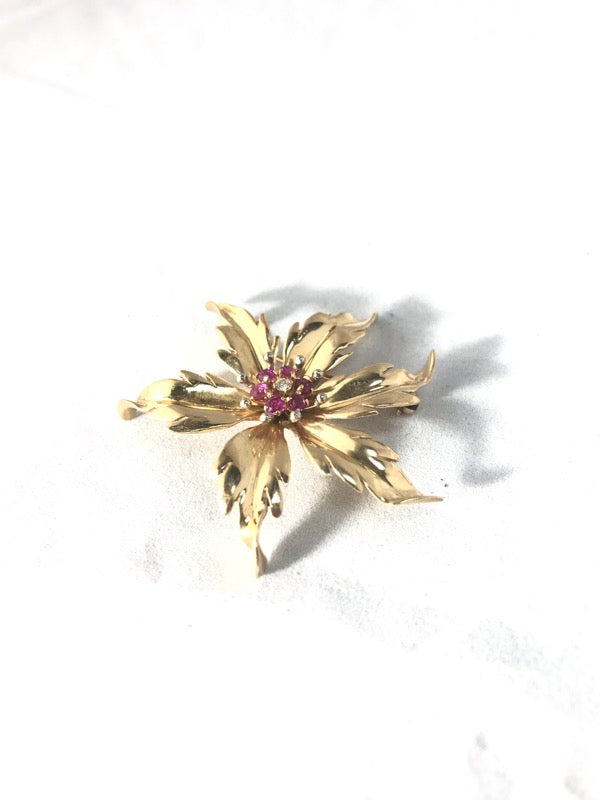 Tiffany & Co. Vintage Red Stone Gold-Diamond-Stone Brooch .04 CT. 14K Yellow Gold 9.7g