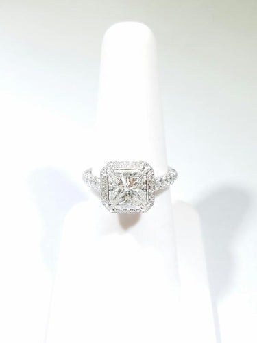 Lady's Diamond Engagement Ring 82 Diamonds 2.90 Carat T.W. 18K White Gold 5g (CS)
