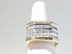 Gent's Diamond Cluster Ring 33 Diamonds .99 Carat T.W. 14K Yellow Gold 23.9g