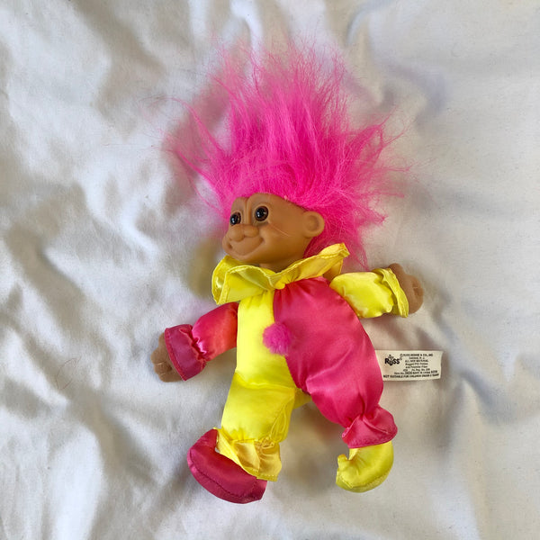 Vintage Jester Baby Troll Russ Toy ~7""