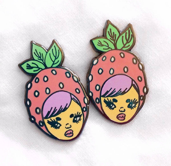 Strawberry Head enamel pin - 1 inch clearance