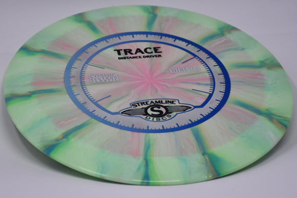 Buy Pink Green Streamline Cosmic Neutron Trace Distance Driver Disc Golf Disc (Frisbee Golf Disc) at Skybreed Discs Online Store