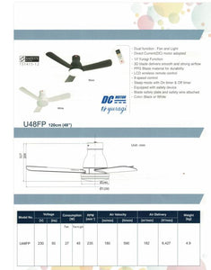 KDK U48FP - Ceiling Fan with DC motor, 120cm with Remote Control