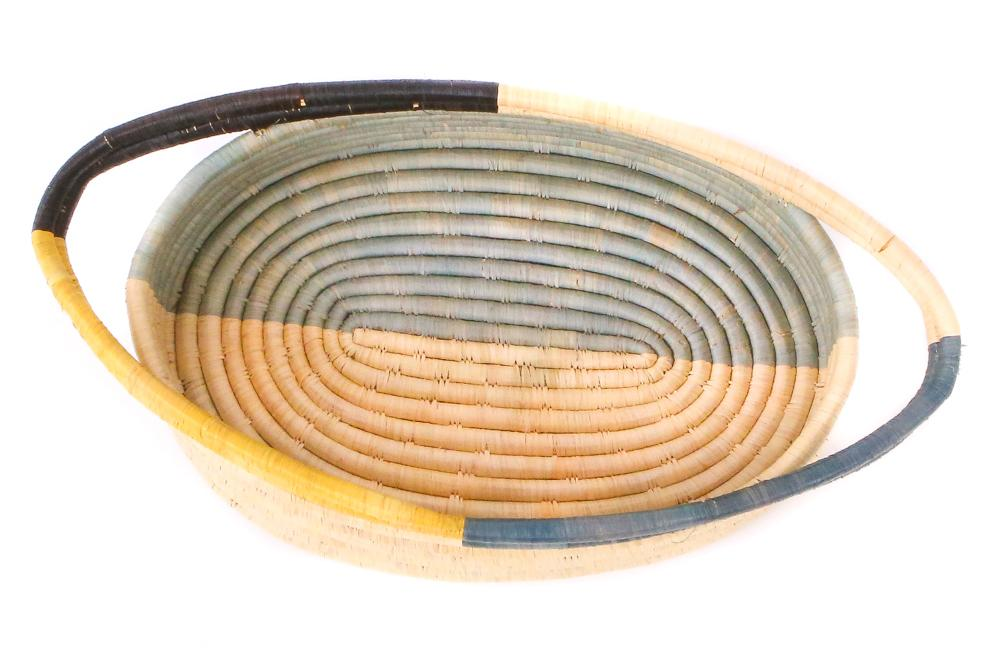 Opal Gray + Mustard Oval Basket