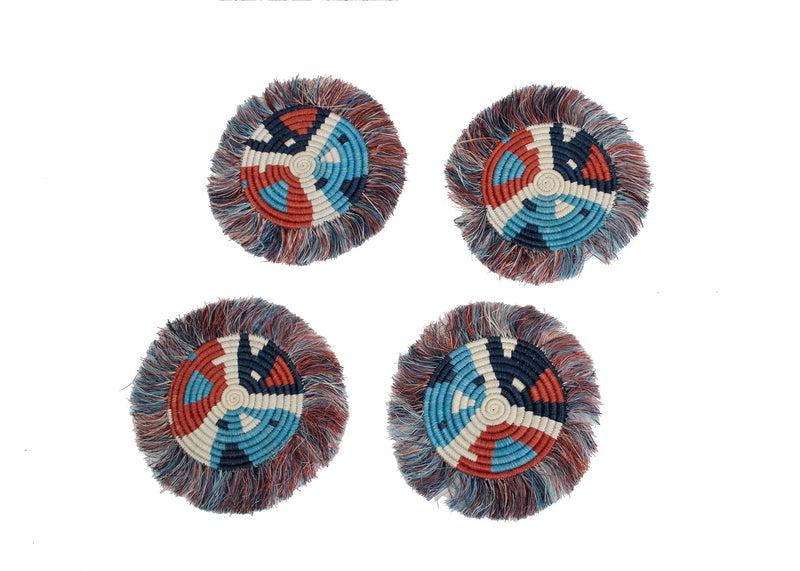 Blue Night + Ginger Matisse Fringed Coasters