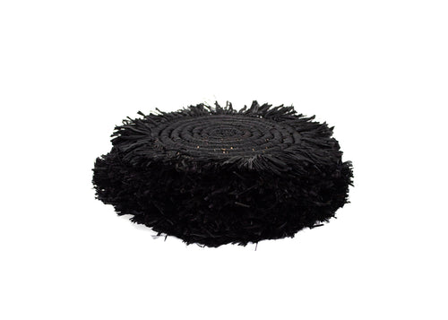 Black Fringed Raffia Coasters