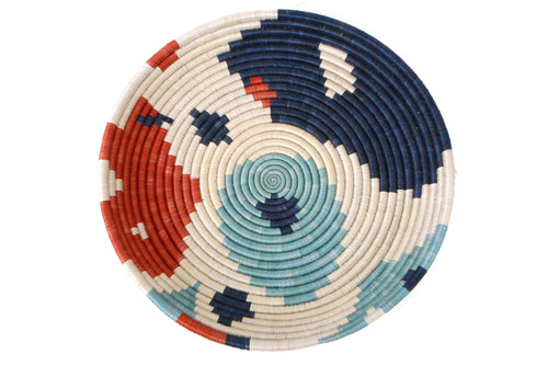 Abstract Navy + Orange Circular Tray