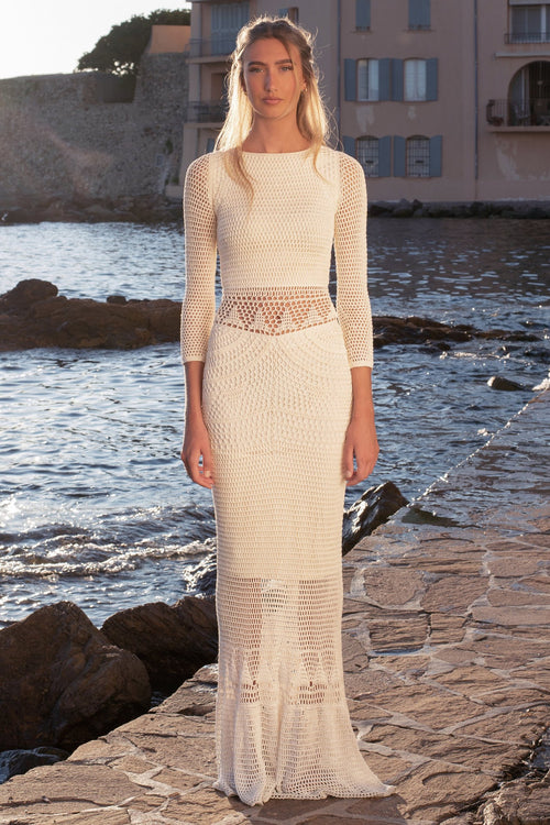 Leafy Crochet Dress White, image