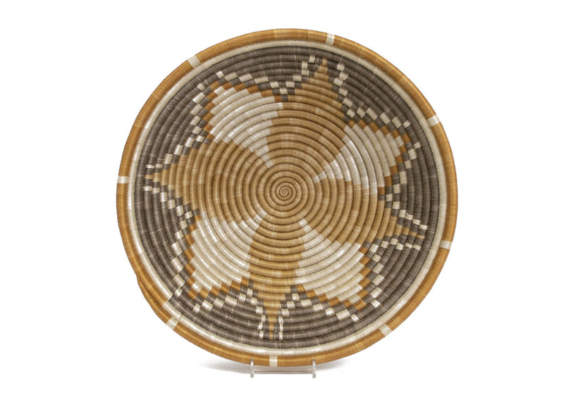 "14"" Extra Large Light Taupe Hope Round Basket - KAZI"