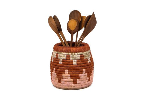 Clay + Dusty Peach Kitchen Utensil Holder