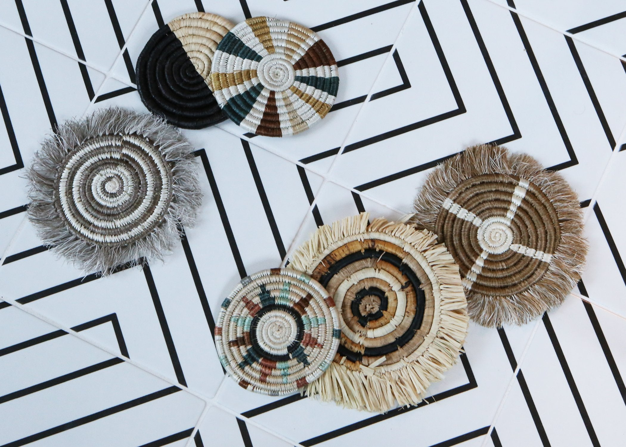 Sand Geo Fringed Coasters
