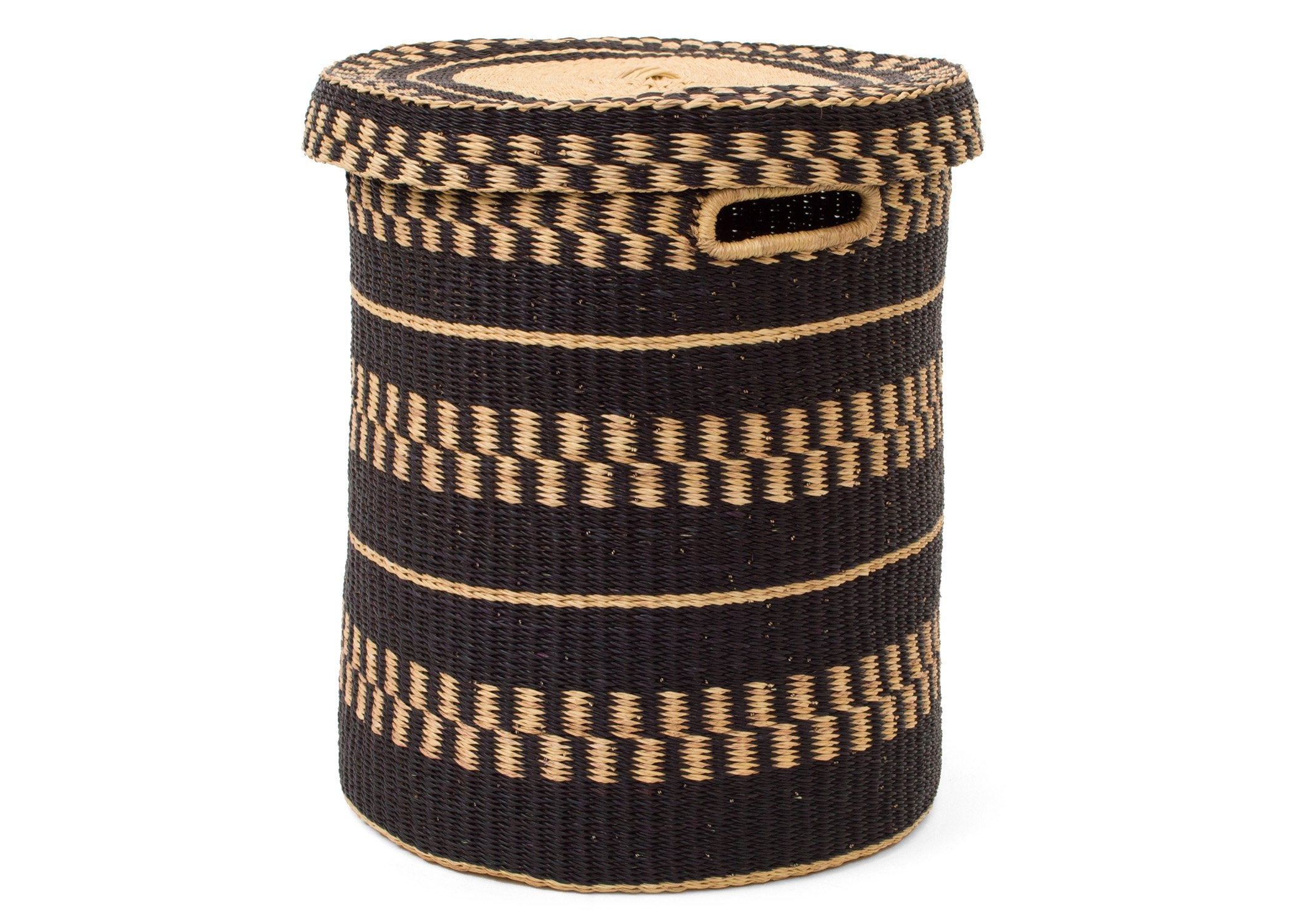 Black Patterned Grass Hamper