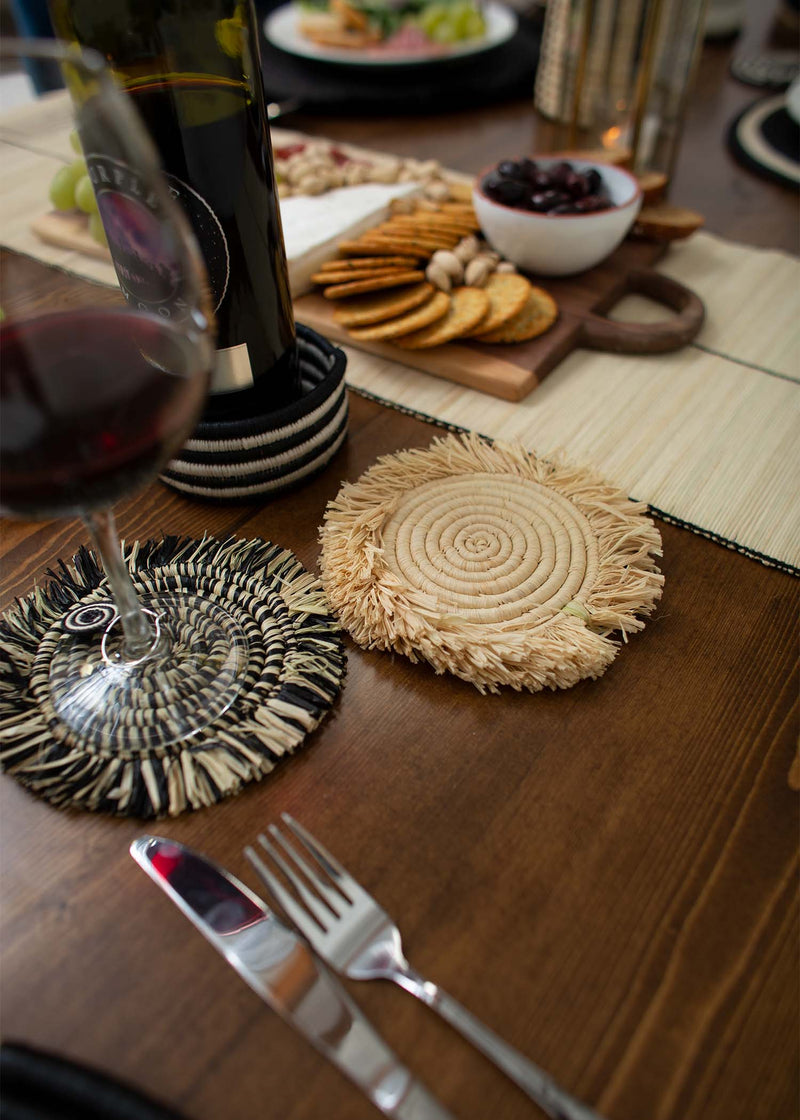 Fringed Natural Drink Coasters, Set of 4 - KAZI