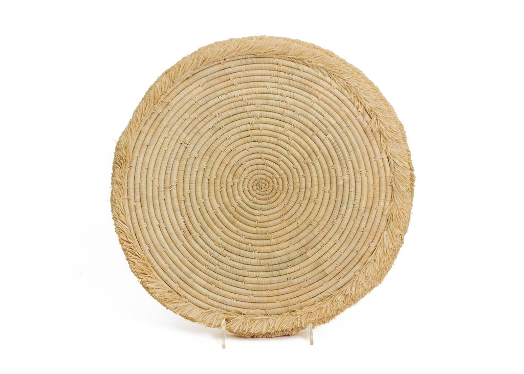 "15"" Natural Large Fringed Charger - KAZI"