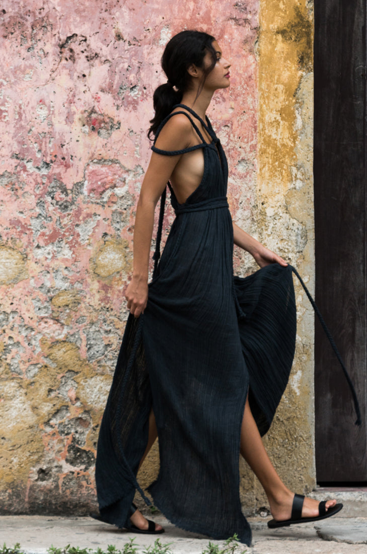 beach black dress kaftan tulum long image