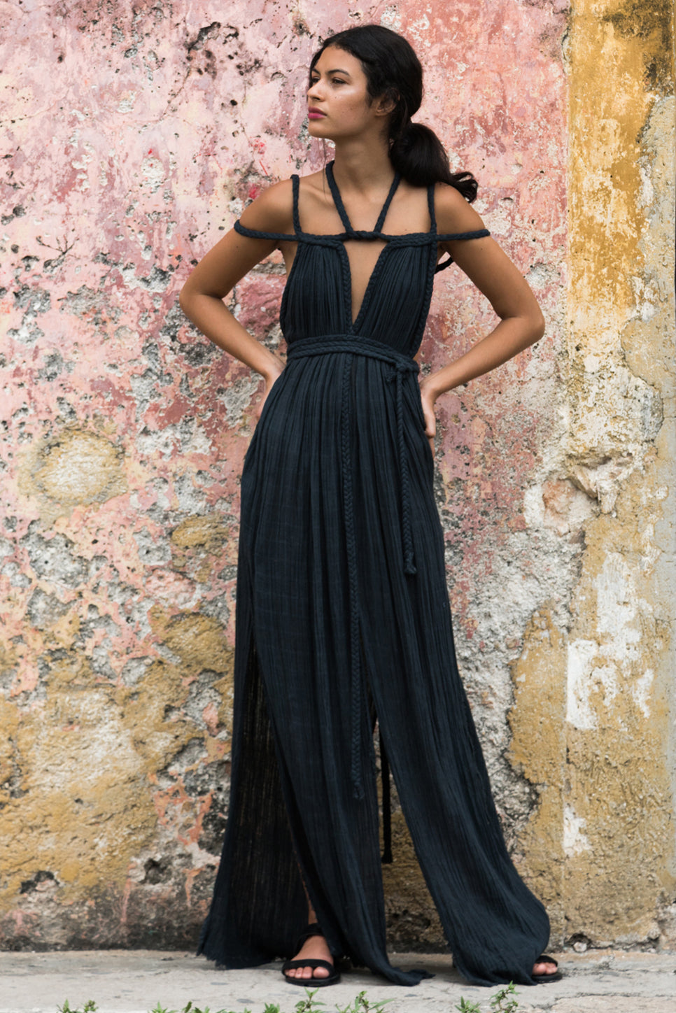 beach dress kaftan tulum long image black