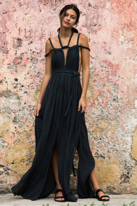 Kasia black beach dress kaftan tulum long, image