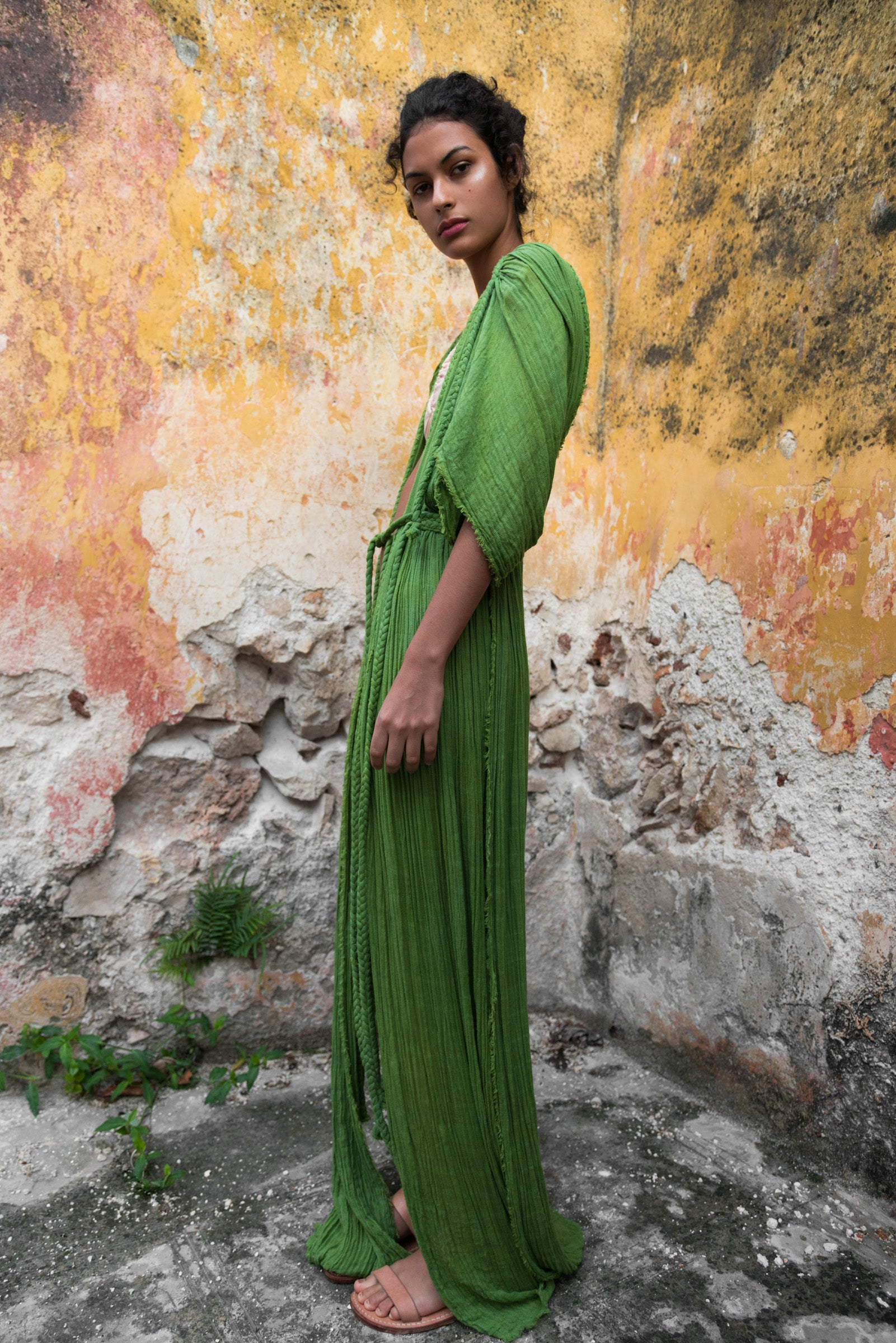 beach dress kaftan tulum long image green