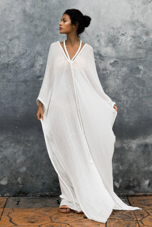 white beach cover up kaftan dress tulum long image