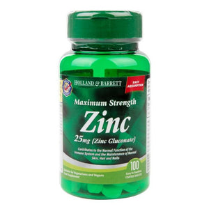 زنك 25 مجم 100 قرص - Holland & Barrett Maximum Strength Zinc 25 mg Tablets 100's