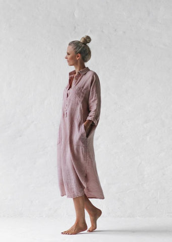 Linen Shirt Dress - Dusty Pink