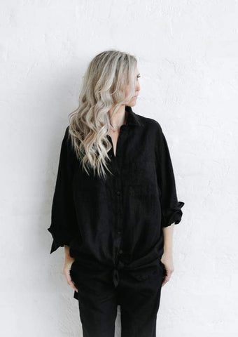 Linen Boyfriend Shirt - Black