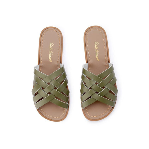 Retro Saltwater Slides - Olive - Scout Newcastle