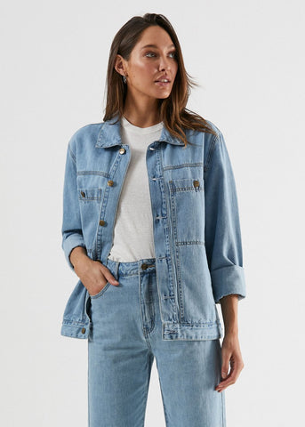 Overtime Unisex Hemp Denim Jacket - Stone Blue