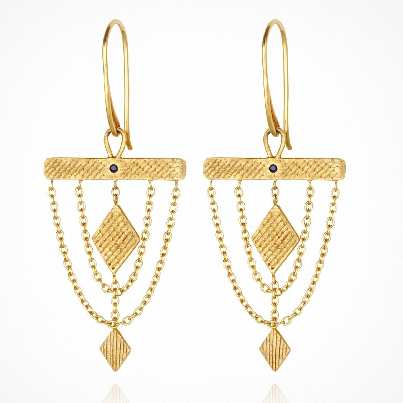 Temple of the Sun - Ara Earrings - Gold with Blue Sapphire