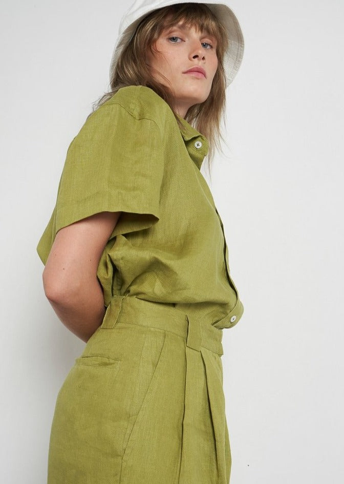 Zana Linen Short - Apple