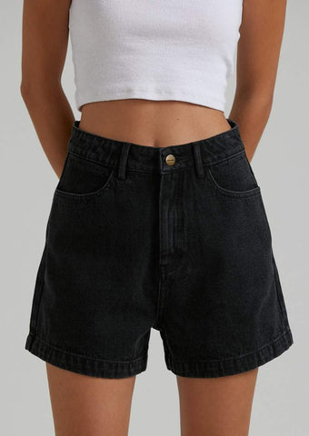 Afends - Seventy Threes Organic Denim Short - Washed Black