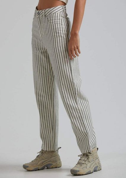 Afends - Shelby Hemp Stripe Twill Wide Leg Pant - Cream
