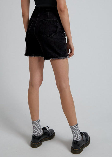 Afends - Shelby Organic Denim Cut Off Short - Washed Black