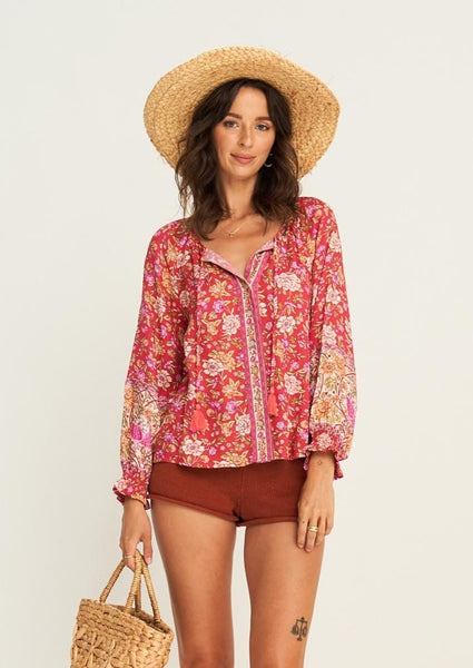 Jasmine Blouse - Campari