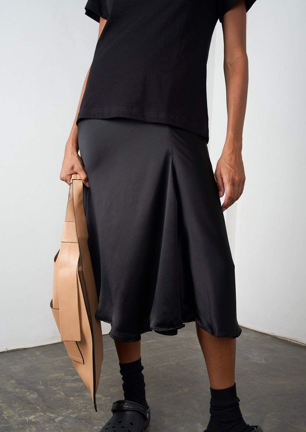 Asymmetric Ruffle Midi Skirt - Licorice