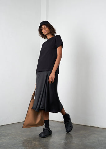 Asymmetric Ruffle Midi Skirt in Licorice