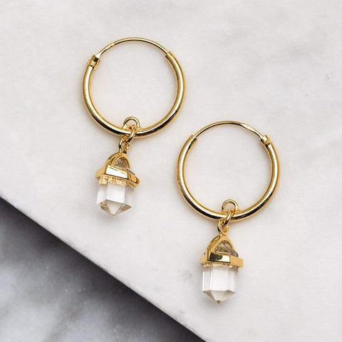 Empress Crystal Quartz Sleepers - Gold