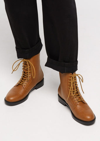 Morton Combat Boots - Chili Tan / Vegan Leather