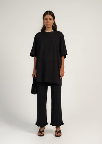 Knitted Frill Pant - Black