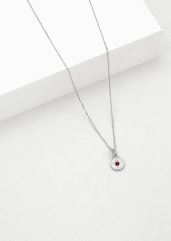 Mini Jean Necklace - Sterling Silver with Garnet