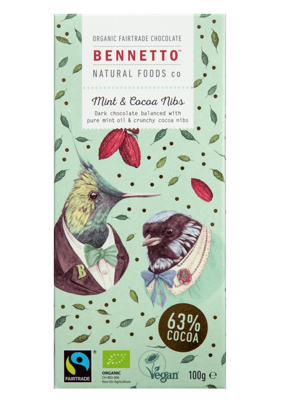 Bennetto Natural Foods - Mint & Cocoa Nibs Chocolate