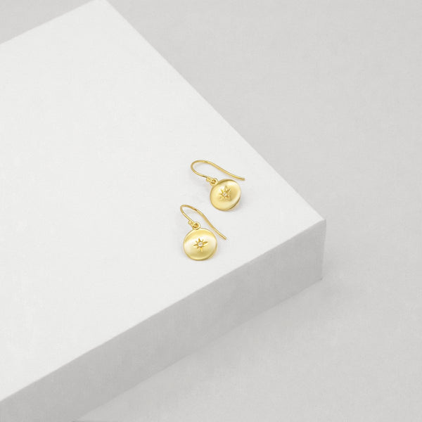 North Star Disc Earrings - Gold Plated