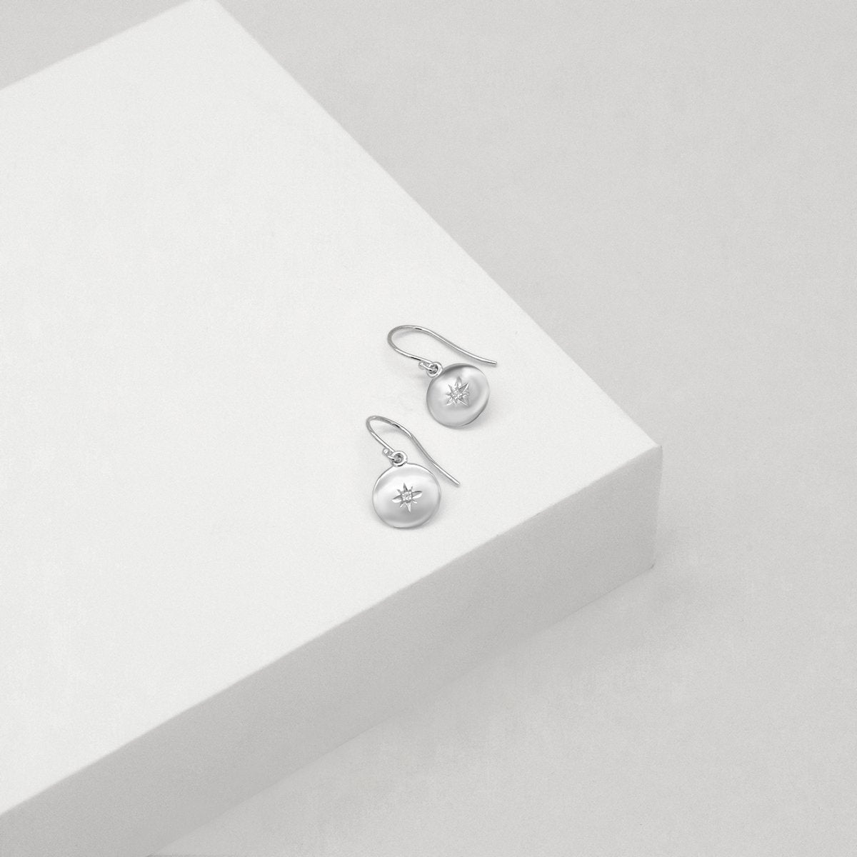 North Star Disc Earrings - Sterling Silver