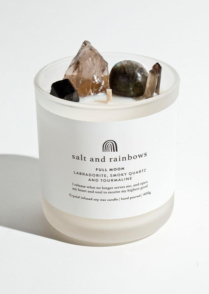 Salt and Rainbows - Full Moon Candle - Leather & Oudh